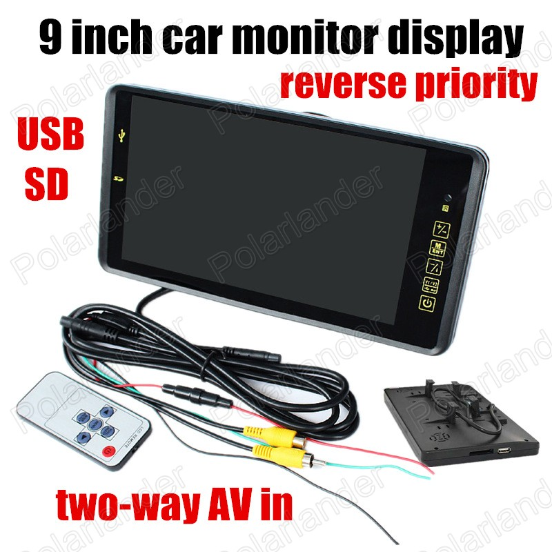 with 2 Video Input backup reverse camera free shipping USB SD 9 Inch color TFT LCD Car Monitor display reverse priority