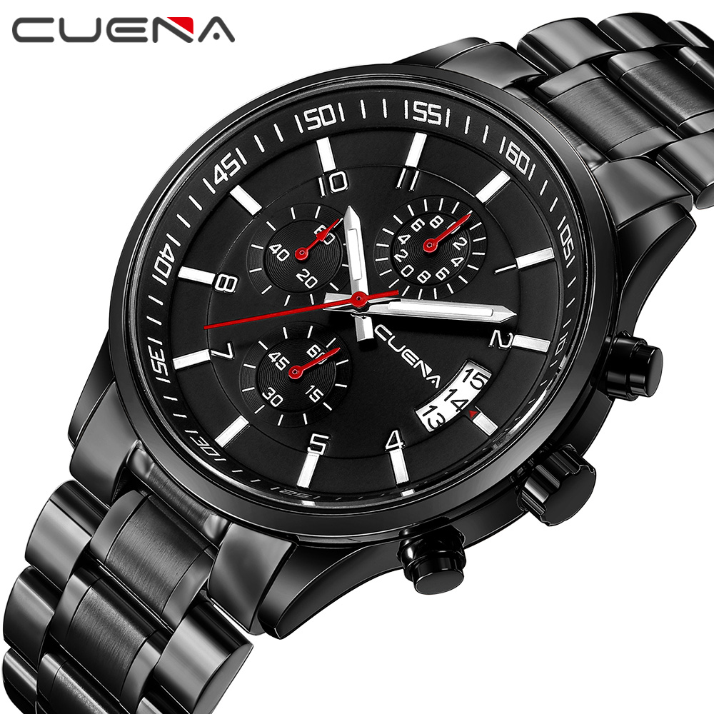 High Quality Fashion Men Quartz Watches Full Steel Man Watch Brand CUENA Wristwatches 6808G Sports Relogio Masculino 10 Colors men fashion quartz watch mans full steel sports watches top brand luxury cuena relogio masculino wristwatches 6801g clock