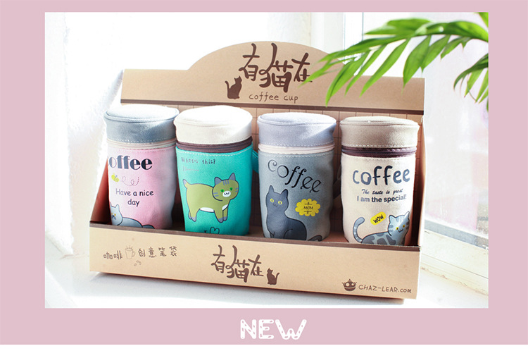 Pencil Case Supplies Stationery Kawaii Cat Coffee Cup School Student Gift Pen Box Bags Cute Pencilcase Office School Tools girl cute cat pen holders multifunctional storage wooden cosmetic storage box memo box penholder gift office organizer school supplie
