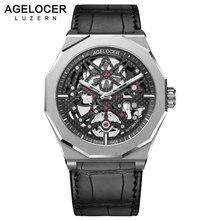 Homem Esqueleto Relógio Mecânico suíço Homens Esporte Relógios Luminosos AGELOCER Power Reserve 80 H 50 m Diver Relógio de Pulso Relogio masculino