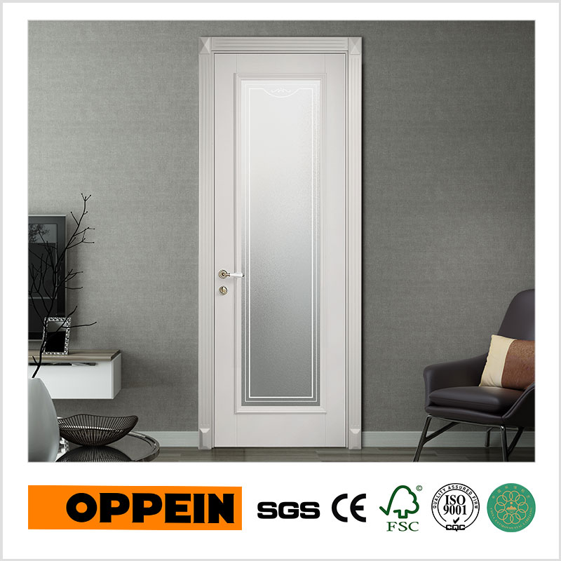 Oppein Modern Design Interior Wooden Door Bathroom Door With Glass