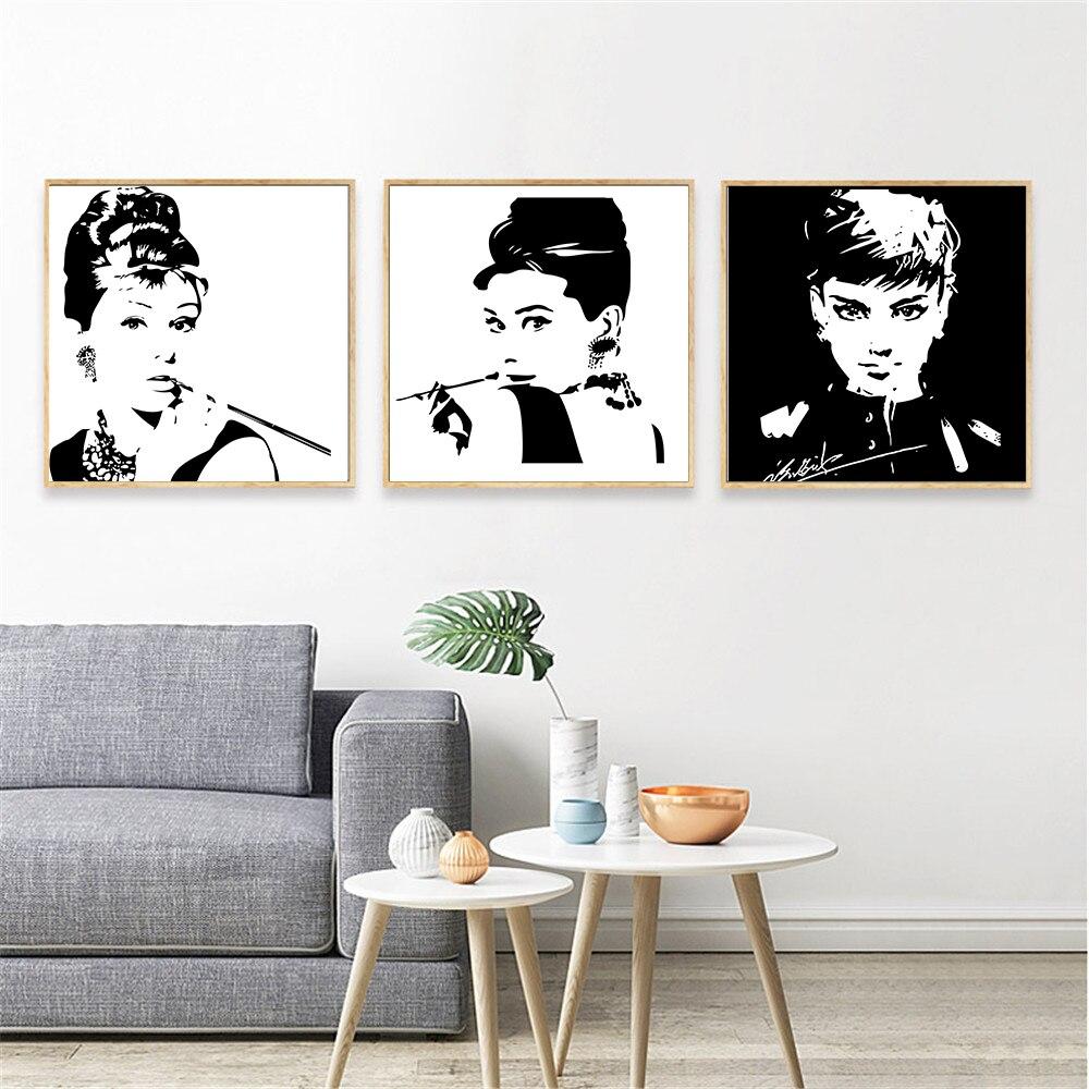 Audrey Hepburn Canvas Painting Black White Wall Art