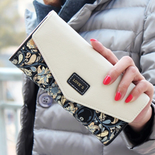 2019 Envelope Leather Women Wallet Hit Color 3 Fold Flowers Printing Wallet Long Phone Bag Clutch Coin Proket Purses for Women stylish 3d metallic flowers printing clutch