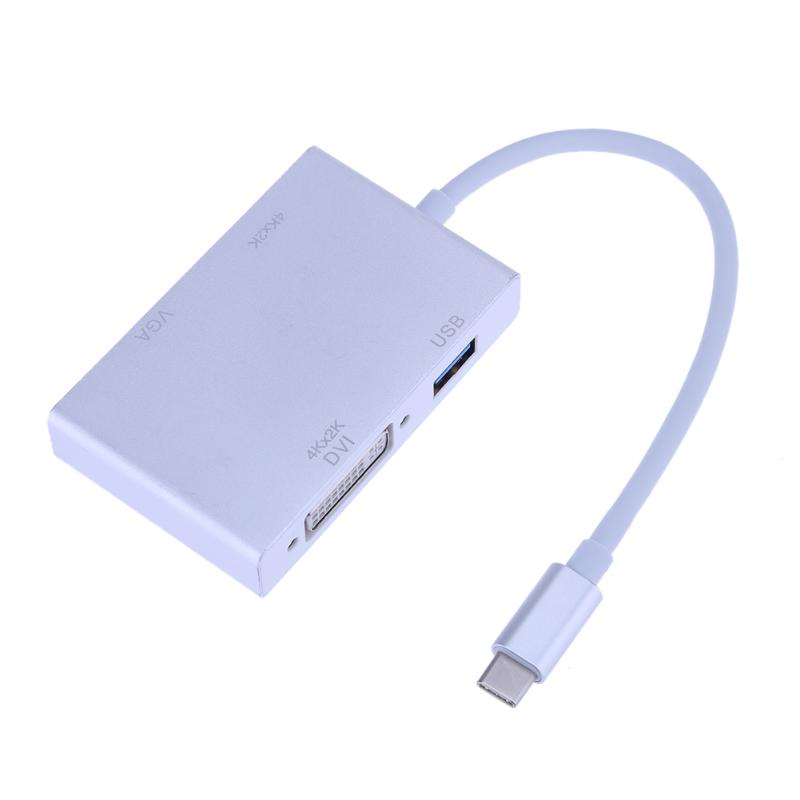 Type-C to HD Multimedia Interface+ VGA+ DVI+ USB 3.0 Adapter Cable Connector for MacBook and Type-C interface Laptop