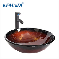 KEMAIDI US New Design Hand Paint Washbasin Tempered Glass Basin Sink Tap With Brass Black ORB