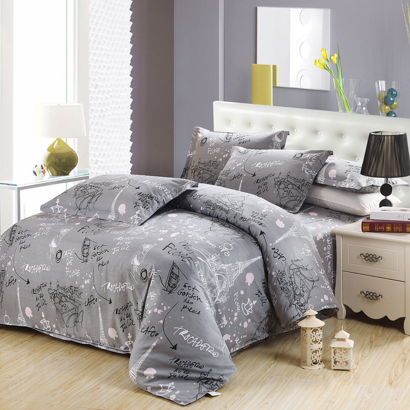 Best-selling Gray Prague style Home Textile Duvet Quilt Cover Pillow Case Bed Sheet Woman Adult Girls Bedding Linen SetBest-selling Gray Prague style Home Textile Duvet Quilt Cover Pillow Case Bed Sheet Woman Adult Girls Bedding Linen Set