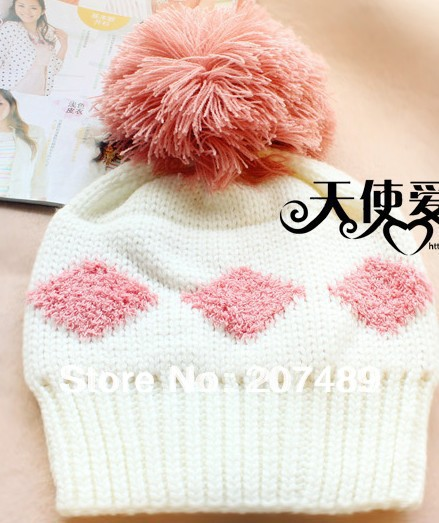 ladies' fashion Knitted hat Beanie Cap Autumn Spring Winter sweet ear Protected with big fur ball white+red wholesale ladies s fashion colorful fur ball leisure knitted hat beanie cap autumn spring winter multi colors option