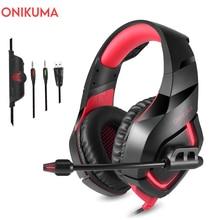 ONIKUMA K1 유선 게임 헤드셋 Caseck 게이머 헤드폰, PSP Xbox 1 PC 랩톱 용 마이크 딥베이스 스테레오 USB LED 이어폰