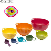 GQIYIBBEI 8pcs/set Plastic Rainbow Salad Bowl Mixing Powder Sieve Measuring Spoon Cup Balance Food Cuisine Kitchen tools Scales