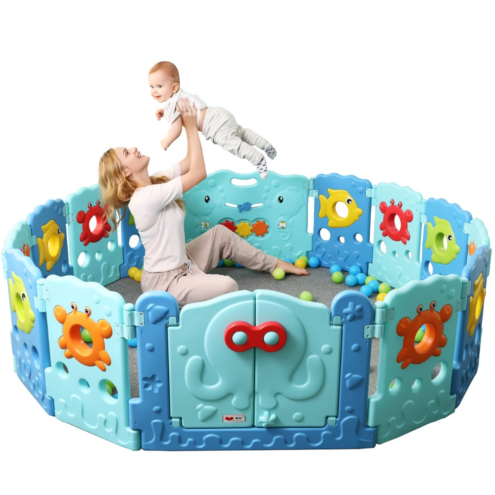 Children Play Fence Indoor Baby Playpens Outdoor Ocean word Fence Kids Activity Gear Environmental Safety Play Yard