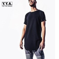 2015 Euro Style Fashion New Mens Avant Garde Tops Tee Shirt Plain Color Short Sleeved Casual