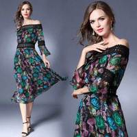 Make Spot 8225 In Europe And The Wind A Word Shoulder Chiffon Dress Dress