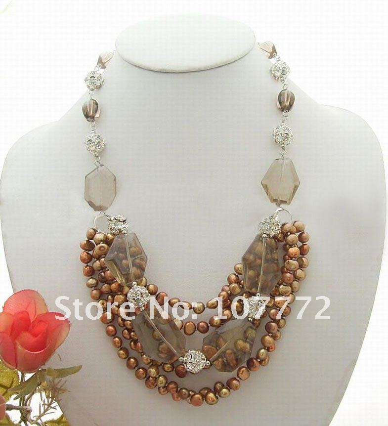 Fresh Water Coffee Pearl@Somke@Crystal ball Necklace ...