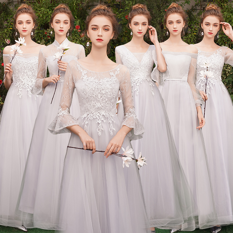 Beauty-Emily Long Lace   Bridesmaid     Dresses   2019 A-Line Off the Shoulder Half Sleeve Vestido da dama de honra
