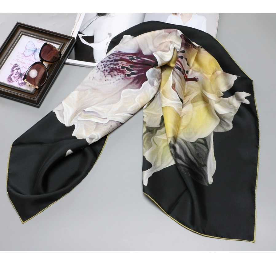 """Women Luxury 100% Silk Scarf Hijab Head Scarves Ladies Top Grade Silk Shawl Foulard 35"""" X 35"""""""