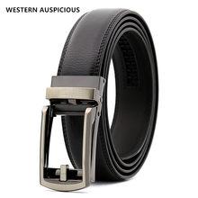 WESTERN – ceinture automatique en cuir véritable pour hommes, avec boucle en alliage, de styliste, noir café, 90-130CM