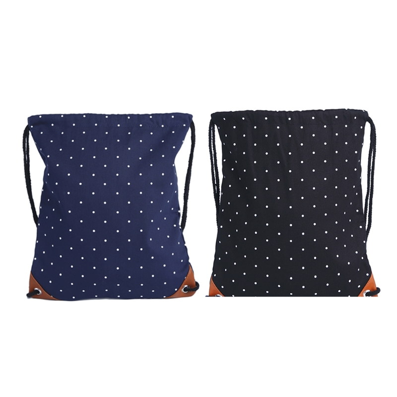 High Quality Canvas Polka Dot Drawstring Backpack Gym Sport Bags Canvas with Pockets for Women Girls все цены