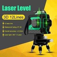 Linhas 12 3D Nível de Auto-Nivelamento A Laser de 360 Graus Horizontal e Vertical de Super Poderoso Laser Verde Feixe Detector de Linha