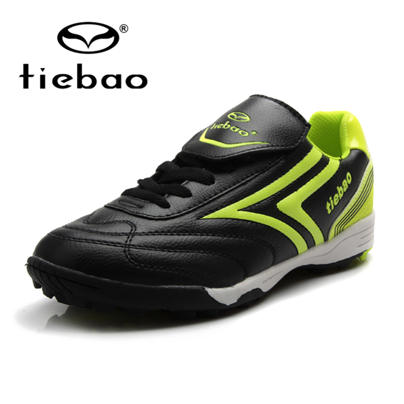 TIEBAO Professional Boys Girls Football Soccer Shoes Black Football Game Trainers TF Turf Soles Sneakers For Kids Teenagers(China)