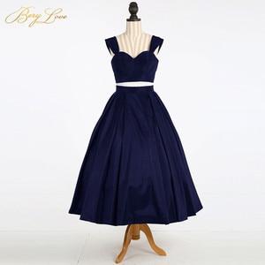 Image 3 - Simple Knee Length Homecoming Dress 2020 Two Pieces Navy Satin Homecoming Gown Prom Dress Graduation Dress vestido de formatura