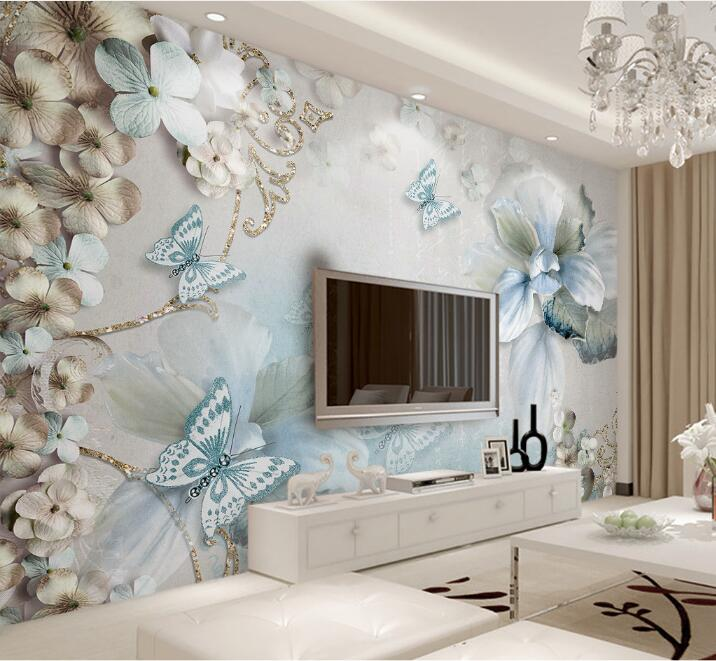 Custom Mural Wallpaper For Bedroom Walls 3D Beautiful Flower Butterfly Background Wall Papers