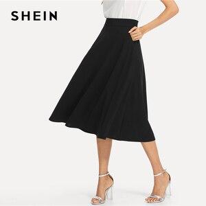 Image 3 - שיין שחור אלגנטי סלנט כיס צד מעגל אמצע מותניים ארוך חצאית קיץ נשים משרד ליידי Workwear מוצק חצאיות