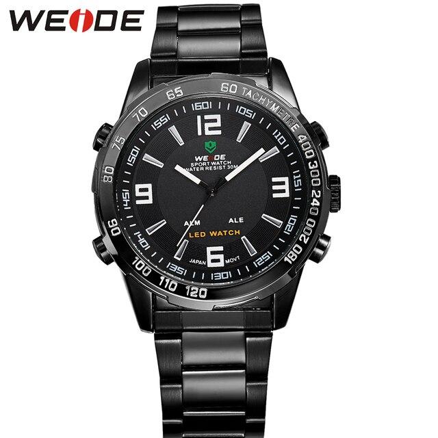 WEIDE Logo Men Wristwatches Black Stainless Steel Band Quartz Digital Dual Movement Multi-Functional 30 Meters Waterproof Watch