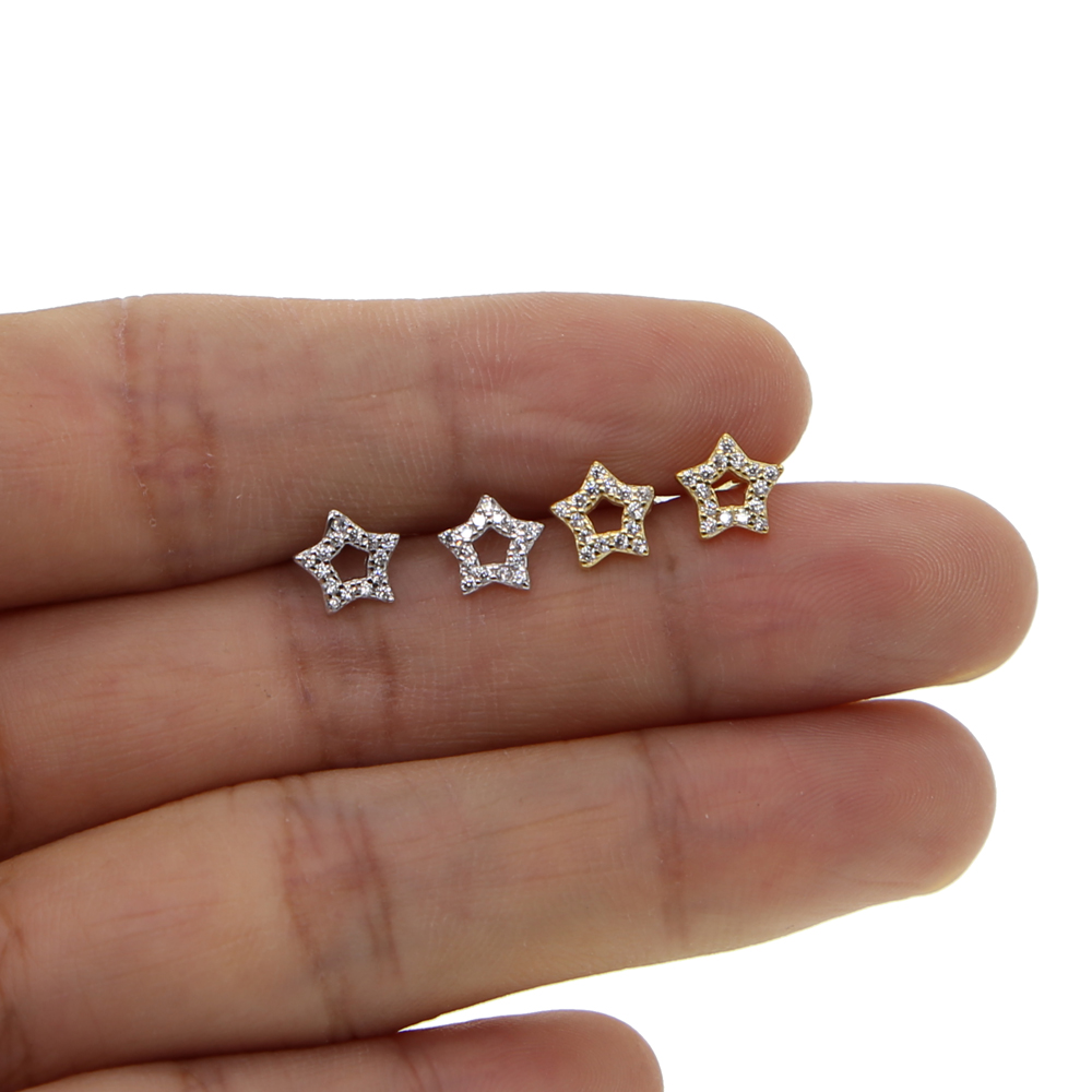 real 925 Sterling Silver Sparkling CZ Exquisite Stackable Star Stud Earrings for Women Jewelry Christmas Gift
