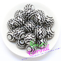 Free Shipping 20MM 100pcs/lot Black Acrylic Pearl Print Chevron Beads For Chunky Necklace Kids Jewelry Making