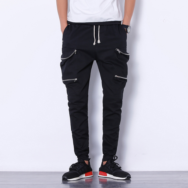 787a1d36e6f6 Cotton Men Joggers Pants Thigh Zipper Pockets Fashion Cargo Pant Solid  Black Korean Slim Fit Male Trousers Hip Hop Casual Pants