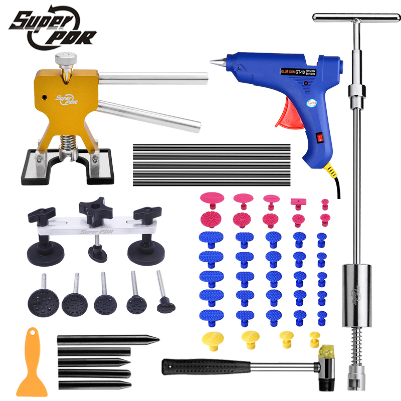 Super PDR Car Dent Removal tool kit Paintless dent repair tools slide hammer Bridge pulling Dent puller glue gun hand tool set 5 second fix liquid plastic welding kit uv light repair tool glue kit