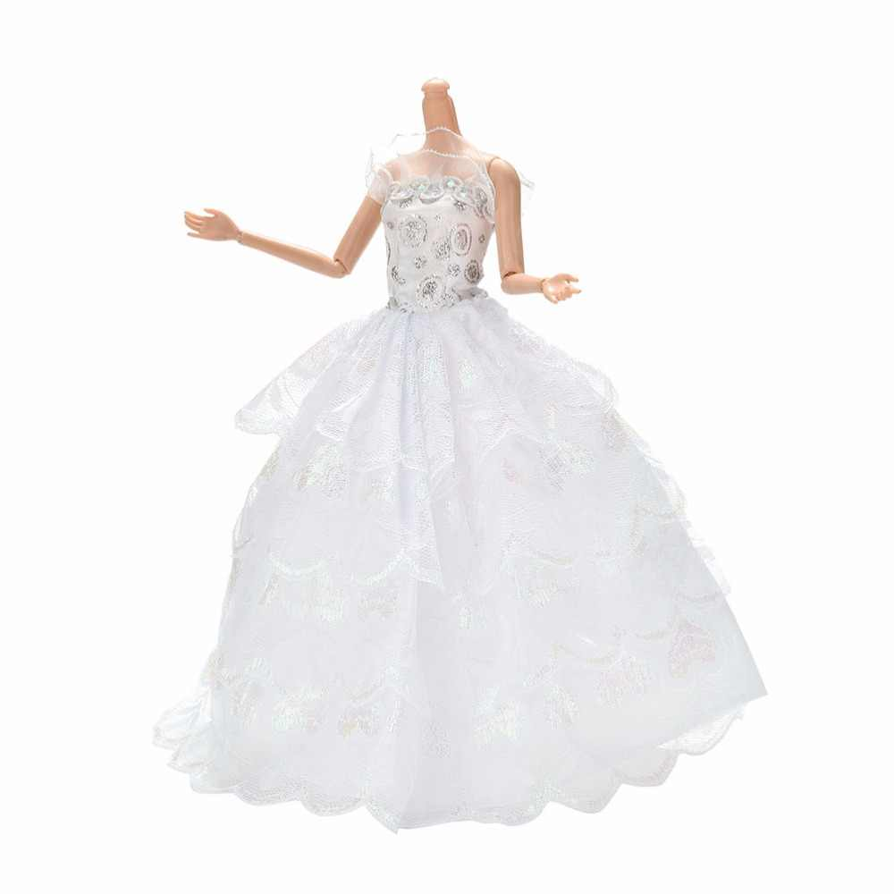 4 Layers Doll Princess Dresses Clothing Charming Summer Floor Length White Party Wedding Dress For Handmade
