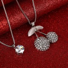 Vintage Cherry Crystal Pendant Necklace Elegant 2 Layers Silver Color Sweater Chain OL Long Necklace Jewelry Female Accessories(China)
