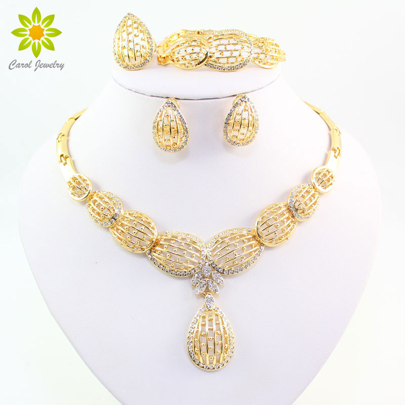 African Gold Color Jewelry Set African Necklace Bracelet Earring