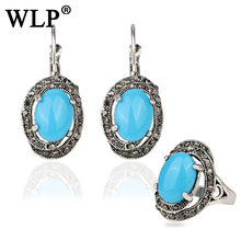 WLP 2018 Fshion Gorgeous Bohemia Vintage jewellery sets Blue Resin Round Antique silver Women For Necklace Gifts party(China)