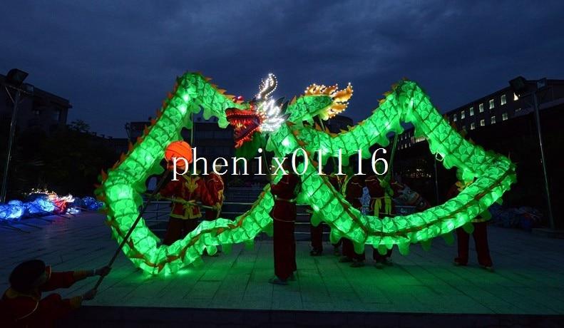 6M 4 lumina adultă verde CHINESE DRAGON DANCE mătase Festivalul - Costume carnaval