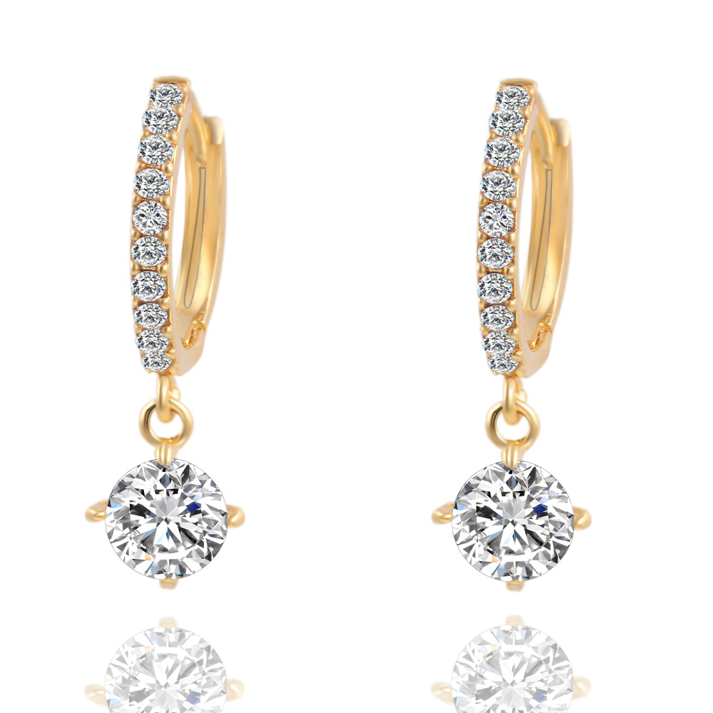 Brincos Geometric Round Crystal Stud Earrings Fashion Gold Color Zircon Pendant Pennte For Women Earring Charm In From Jewelry