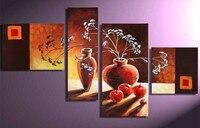Still Life Pintura A Óleo sobre Tela Abstrato pintado à mão Vaso de Flor Maçãs Pinturas Acrílicas 4 Peça Conjuntos de Imagem Casa Arte Da Parede
