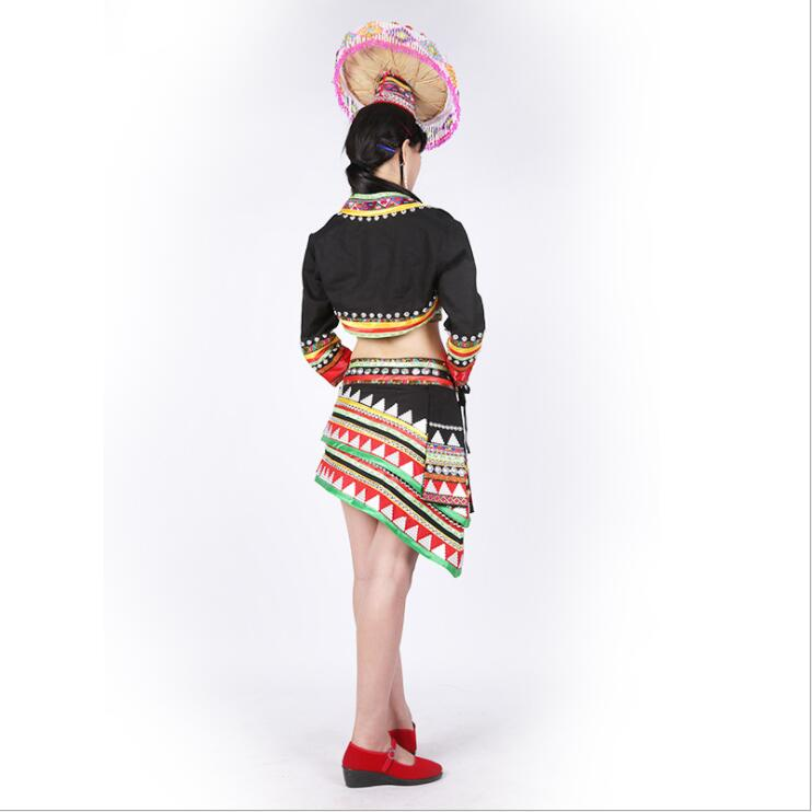 China Laos Thailand ethnic minority Outfit Dai Traditional Suits Hat + Top Jacket + Skirt Yun Nan Dai Nationality Dance Costume 1