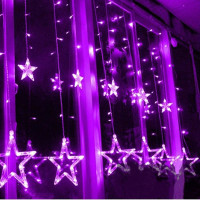 Romantic Purple 12 Stars LED Curtain Lights Christmas Wedding Window Fairy String