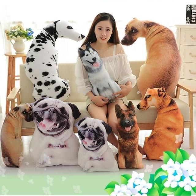 Simulation 3d Creative Dog Pillow Plush Toy Hunter Dog Shar Per Dog