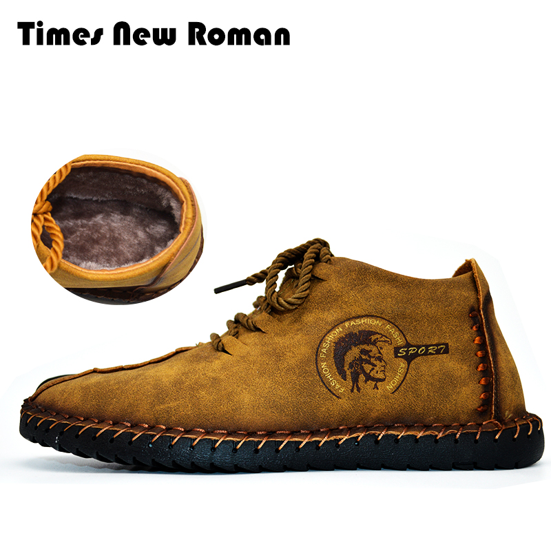 Times New Roman Keep Warm Winter Men Boots High Quality Split Leather Casual Men Shoes With Plush  Fahsion Boots Size 38~47