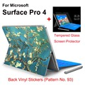 2017 New Design For Surface Pro 4 Tablet Vinyl Decal Netbook Flora Skin Sticker+Explosion-proof Tempered Glass Screen Protector