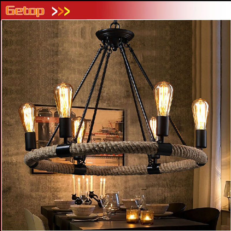 American Country Retro E27 LED Pendant Lamp Iron Hemp Rope Hand Knitted Indoor Lighting Shop Restaurant Bar Living Room Lamp набор салатников лист бежевый 19см 6шт 1100254