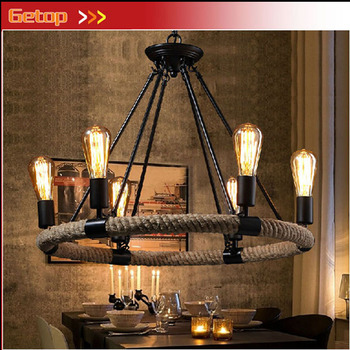 American Country Retro E27 LED Pendant Lamp Iron Hemp Rope Hand Knitted Indoor Lighting Shop Restaurant Bar Living Room Lamp