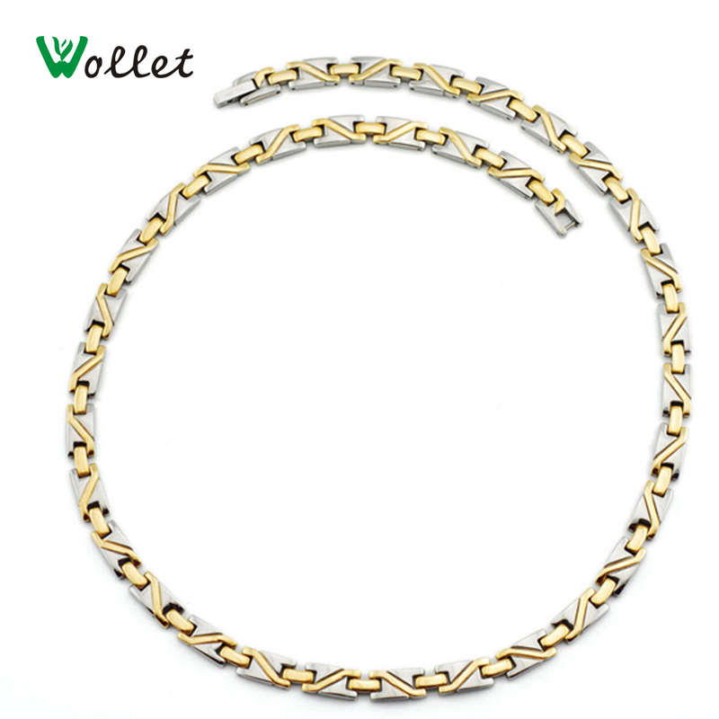 Wollet New Fashion Cool Gift For Men 3 in 1 Infrared Health Gold Filled Magnetic Solid Germanium Titanium Necklace MenWollet New Fashion Cool Gift For Men 3 in 1 Infrared Health Gold Filled Magnetic Solid Germanium Titanium Necklace Men