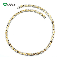 Wollet New Fashion Cool Gift For Men 3 in 1 Infrared Health Gold Filled Magnetic Solid Germanium Titanium Necklace Men