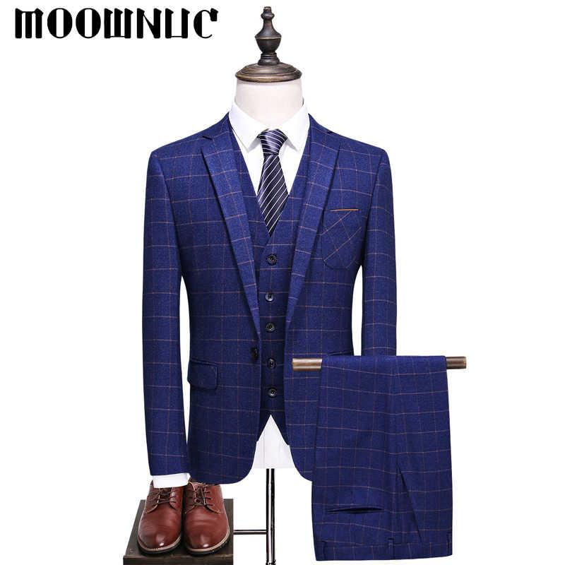 Новый наряд для жениха Комплект из трех предметов клетчатые деловые случайные костюмы брюки жилет классические мужские MOOWNUC Модные четыре цвета Slim Fit