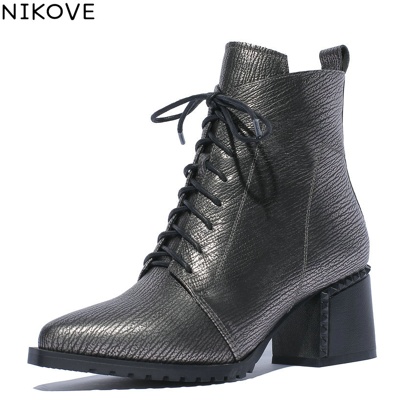 NIKOVE 2019 Women Shoes Square High Heels Sewing Winter