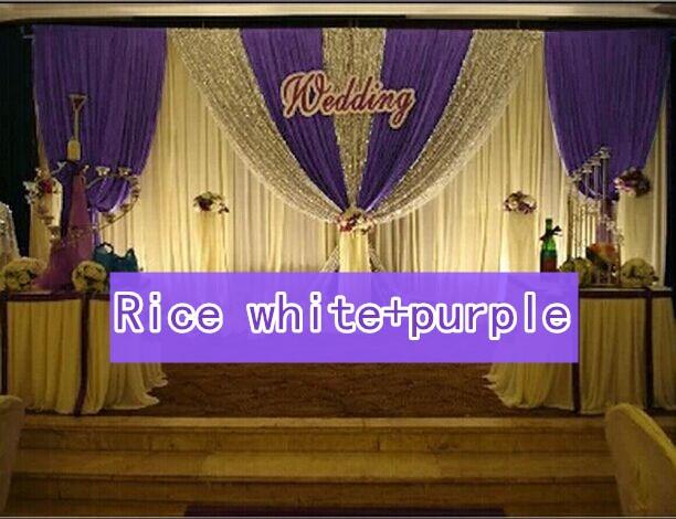 CALDO!! 3*6 m festa di nozze di seta del ghiaccio drapery Riso bianco paillettes di Colore con lo swag fase prop moda Copre la tenda Sullo Sfondo - 4